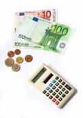 Euro money banknotes calculator — Stock Photo