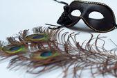 Benátský karneval masky a paví peří — Stock fotografie