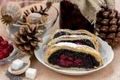 Poppy seed strudel with cherry — Stock Photo