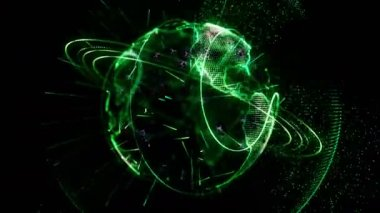 Animated planet rotates green — Stock Video
