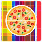 Vector clip art illustration of italian pizza on the plaid — Stock Vector