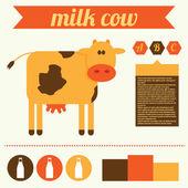 Cow and milk vector illustration — Stockvektor