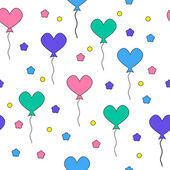 Seamless pattern with flying heart-shaped balloons — Vetor de Stock