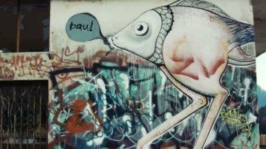 Graffiti on cement wall — Stockvideo
