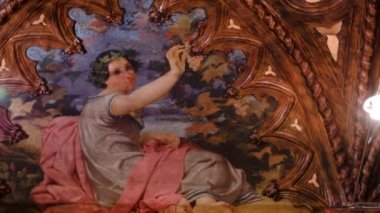 Fresco Paintings in the ornate rooms of an Italian renaissance villa — Stock Video