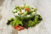 Fresh prepared salad in a bowl to take — Stock Photo