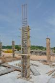 Column timber formwork at construction site — Stock Photo