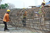 Bore pile reinforcement bars — Stock Photo
