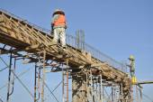 Construction Workers Installing Beam Formwork and the reinforcement bar — Stock Photo