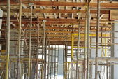 Scaffolding erected to support slab formwork — Stock Photo