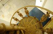 Spiral metal staircase detail and design at Sultan Abu Bakar State Mosque in Johor Bharu, Malaysia — Stock Photo