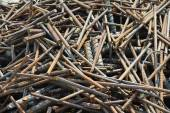 Reinforcement bar waste collected before sent to the factory for recycling — Stock Photo