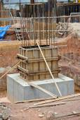 Column stump formwork made from timber and plywood — Stock Photo