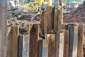 Retaining wall steel sheet pile — Stock Photo