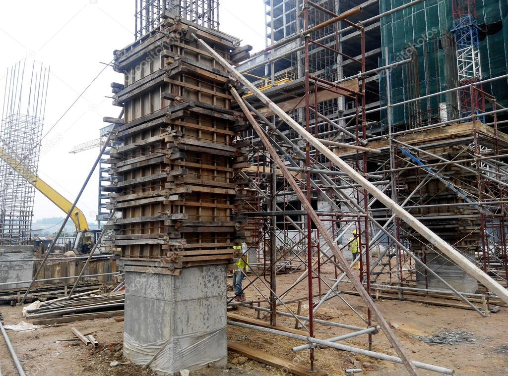 Timber Column Formwork Under Construction At The