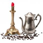 Candelabra, candle, coffee pot — Stock Photo