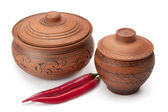 Clay pots and peppers — Stock Photo