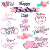 Set of  Valentines Day Decorative Elements — ストックベクタ