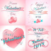 Set of  Happy Valentines Day Greeting Cards — Cтоковый вектор