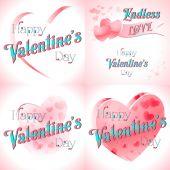 Zestaw Happy Walentynki kartki — Wektor stockowy