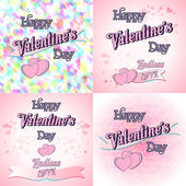 Set of  Happy Valentines Day Greeting Cards — Stock Vector