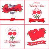 Set of  Happy Valentines Day Greeting Cards — Stok Vektör