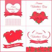 Happy Valentines Day wenskaarten set — Stockvector