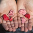 Hands Holding Red Hearts — Stock fotografie #63476369