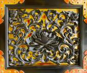 Black Lotus on Gold Door Decoration at a Buddhist Temple. — Stock Photo