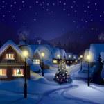 Cottage, village Christmas Night, Snow, Winter — Stock Photo #59917001