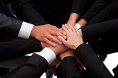 Team shakehand peace business - stock images — Stock Photo