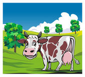 Cows in a meadow green background — Stock Vector