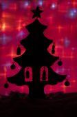 Silhouet van kerstboom — Stockfoto