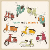 Set of hand drawn retro scooters — Stock Vector