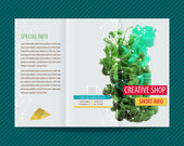Brochure with green ink — Stock Vector