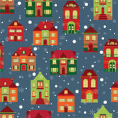 Houses and snowflakes pattern — Stock Vector