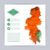 Orange  ink swirling in water — Stock Vector