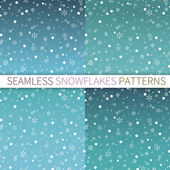 Set of seamless patterns with snowflakes — Stock Vector