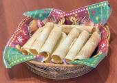 Wafer rolls on the table — Stockfoto