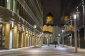 MOSCOW, RUSSIA - DECEMBER 14, 2014: Street near metro subway station Belorusskaya at night in Russia, Moscow business center — Stock Photo