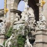 Barcelona ciudadela park lake fountain with golden quadriga of Aurora — Stock Photo #63659093