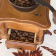 Old coffee grinder (coffee mill) brown in color. Top view — Stock Photo #68909639