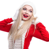 Xmas, christmas, winter holidays, people, happiness concept - bright picture of smiling happy beautiful woman in hat, muffler and gloves white isolated background — Stock fotografie