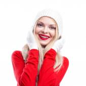 Xmas, christmas, winter holidays, people, happiness concept - bright picture of smiling happy beautiful woman in hat, muffler and gloves white isolated background — Stockfoto