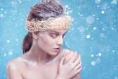 Winter beauty young woman portrait,model creative image with frozen makeup, with porcelain skin and long white lashes showing trendy, Ice-queen, Snow Queen, studio — Stockfoto