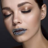 Luxury woman with rhinestones on her lips and closed eyes — 图库照片