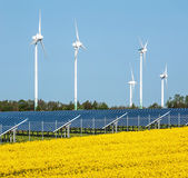 Wind turbines and solar panels — Stock Photo