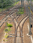 Track systems with overhead lines — Stock Photo