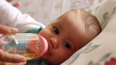 Baby Drinking Tea — Stock Video