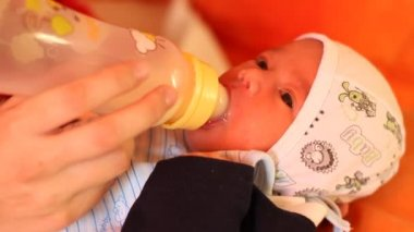Baby Feeding with Child Bottle — Video Stock